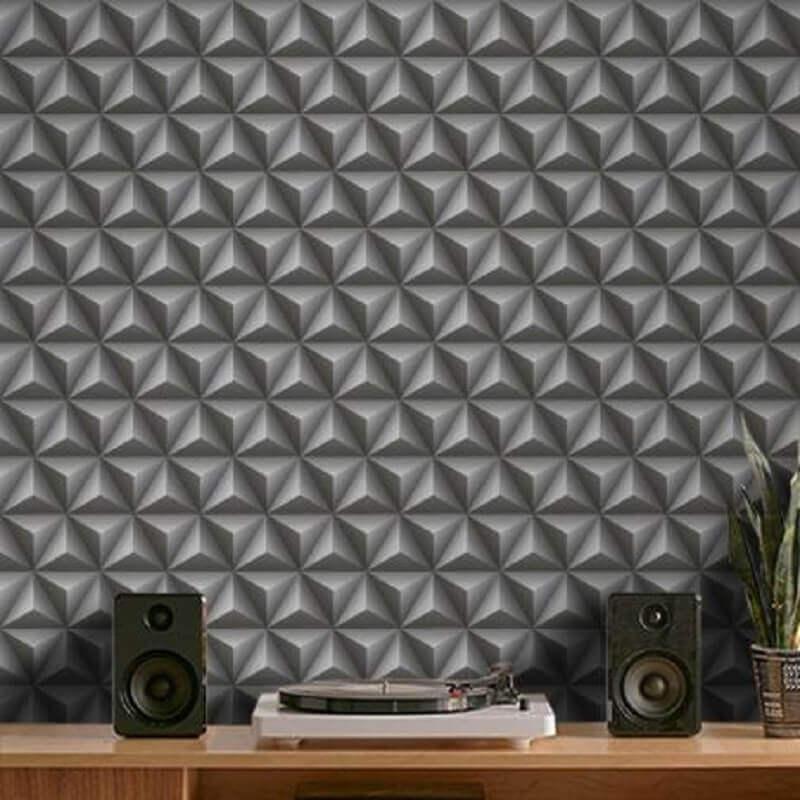 Decoração moderna para sala com revestimento 3D adesivo – Foto: Pinterest